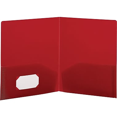 Storex Recycled Poly 2-Pocket Folders, Red