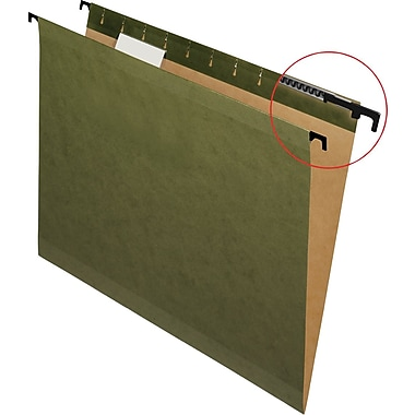 Pendaflex® SureHook® Reinforced Hanging File Folders, 5 Tab Positions, Letter Size, Standard Green, 20/Box (6152 1/5)
