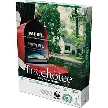 Domtar FirstChoice FSC-Certified Cover & Card Stock, 65 lb., 8-1/2