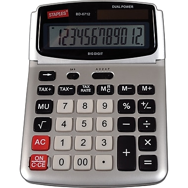 Staples® - Calculatrice de bureau robuste à affichage incliné ajustable, 12 chiffres