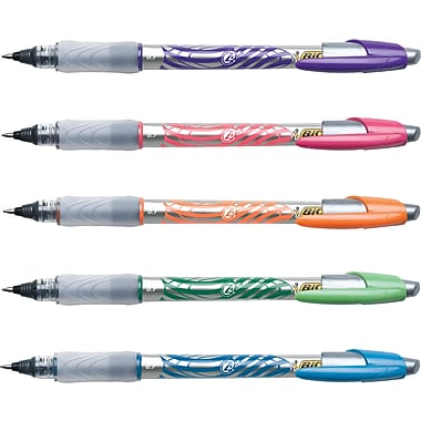 BIC® Z4+ Rollerball Pens, Fine, Assorted, 5/Pack