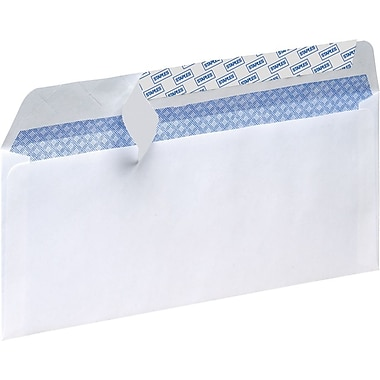 Staples Tear-Resistant Privacy-Tinted #10 Business Envelopes, White