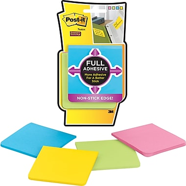 Post-it® Super Sticky Full Adhesive 3in. x 3in. Bright Notes, 4 Pads/Pack