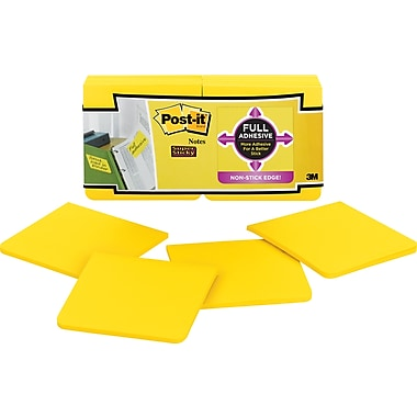 Post-it® Super Sticky Full Adhesive 3in. x 3in. Yellow Notes, 12 Pads/Pack