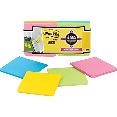 Post-it® Super Sticky Full Adhesive 3in. x 3in. Bright Notes, 12 Pads/Pack
