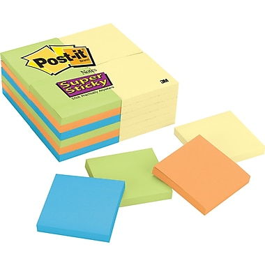 Post-it® Super Sticky 3in. x 3in. Office Pack Notes, 24 Pads/Pack