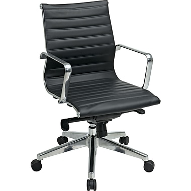 Office Star Mid Back Eco Leather Chair, Black