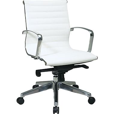 Office Star - Fauteuil à dossier mi-élevé, cuir écologique blanc