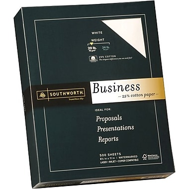Southworth® 25% Cotton Business Paper, 20 lb., 8 1/2in. x 11in., White