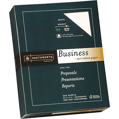 SOUTHWORTH® 25% Cotton Business Paper, 8 1/2in. x 11in., 24 lb., Wove Finish, White, 500/Box