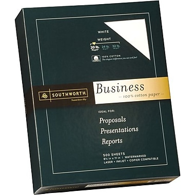 SOUTHWORTH® 100% Cotton Business Paper, 8 1/2in. x 11in., 20 lb., Wove Finish, White, 500/Box