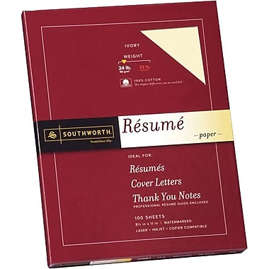 SOUTHWORTH® 100% Cotton Resume Paper, 8 1/2in. x 11in., 24 lb., Wove Finish, Ivory, 100/Box