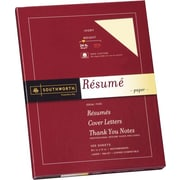SOUTHWORTH® 100% Cotton Resume Paper, 8 1/2 x 11, 24 lb., Wove Finish, Ivory, 100/Box