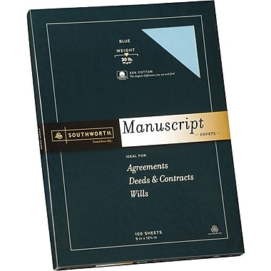 SOUTHWORTH® Manuscript Covers, 9in. x 12 1/2in., 30 lb., Smooth Finish, Blue, 0/Box