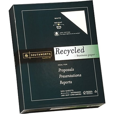 Southworth® Fine Recycled Paper,  8 1/2in. x 11in., White