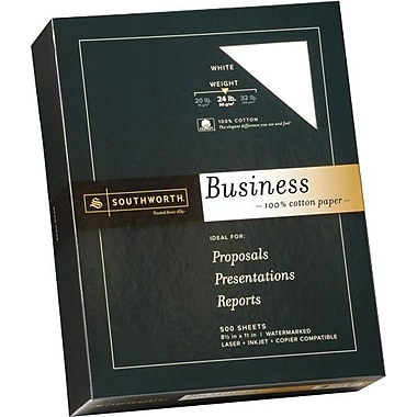 SOUTHWORTH® 0% Cotton Business Paper, 8 1/2in. x 11in., 24 lb., Wove Finish, White, 500/Box