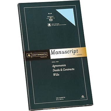 SOUTHWORTH® Manuscript Covers, 9in. x 15 1/2in., 30 lb., Smooth Finish, Blue, 0/Box