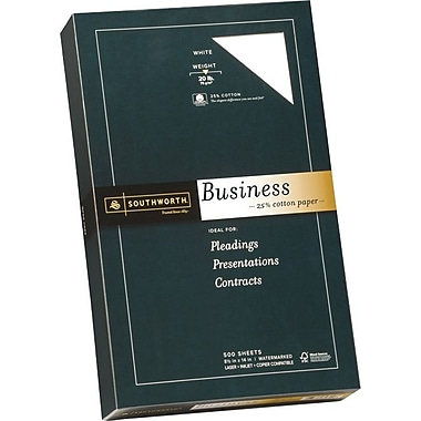 Southworth® Fine Business Paper, 20 lb., 8 1/2in. x 14in., White