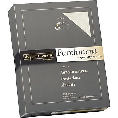 SOUTHWORTH® Parchment Specialty Paper, 8 1/2in. x 11in., 24 lb., Parchment Finish, Ivory, 500/Box