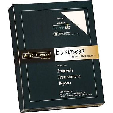 SOUTHWORTH® 0% Cotton Business Paper, 8 1/2in. x 11in., 32 lb., Wove Finish, White, 250/Box