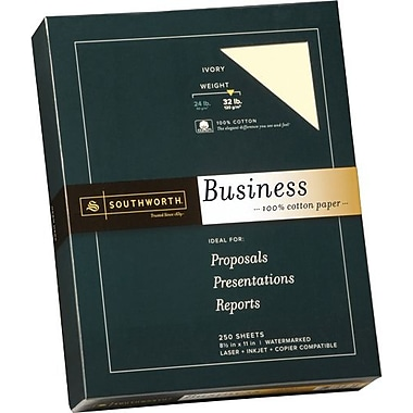 SOUTHWORTH® 100% Cotton Business Paper, 8 1/2in. x 11in., 32 lb., Wove Finish, Ivory, 250/Box