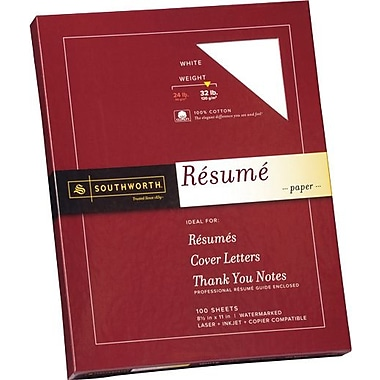 SOUTHWORTH® 0% Cotton Resume Paper, 8 1/2in. x 11in., 32 lb., Wove Finish, White, 0/Box