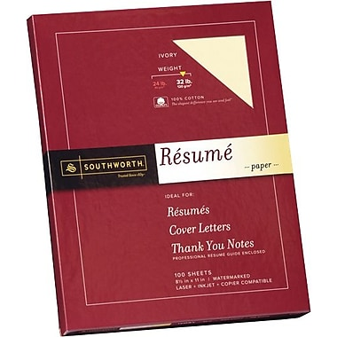 SOUTHWORTH® 0% Cotton Resume Paper, 8 1/2in. x 11in., 32 lb., Wove Finish, Ivory, 0/Box