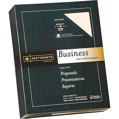 SOUTHWORTH® 25% Cotton Recycled Business Paper, 8 1/2in. x 11in., 24 lb., Wove Finish, Natural, 500/Box
