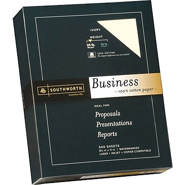 SOUTHWORTH® 0% Cotton Business Paper, 8 1/2in. x 11in., 24 lb., Wove Finish, Ivory, 500/Box