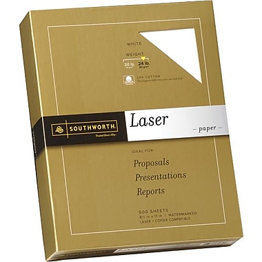 SOUTHWORTH® Laser Paper, 8 1/2in. x 11in., 24 lb., Smooth Finish, White, 500/Box