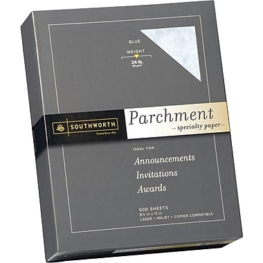 SOUTHWORTH® Parchment Specialty Paper, 8 1/2in. x 11in., 24 lb., Parchment Finish, Blue, 500/Box