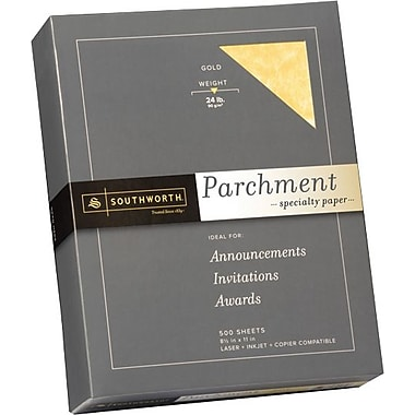 SOUTHWORTH® Parchment Specialty Paper, 8 1/2in. x 11in., 24 lb., Parchment Finish, Gold, 500/Box