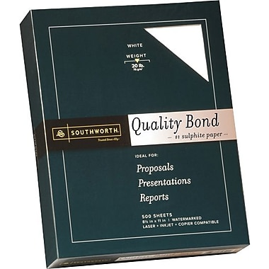 SOUTHWORTH® Quality Bond #1 Sulphite Paper, 8 1/2in. x 11in., 20 lb., Wove Finish, White, 500/Box