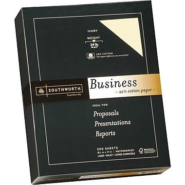 Southworth® 25% Cotton Business Paper, 24 lb., 8 1/2in. x 11in., Ivory