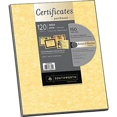 Southworth® in.Create Your Ownin. Certificate Paper with CD, Gold