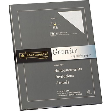 SOUTHWORTH® Granite Specialty Paper, 8 1/2in. x 11in., 24 lb., Granite Finish, Ivory, 100/Box