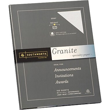 SOUTHWORTH® Granite Specialty Paper, 8 1/2in. x 11in., 24 lb., Granite Finish, Gray, 100/Box
