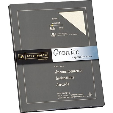 SOUTHWORTH® Granite Specialty Paper, 8 1/2in. x 11in., 24 lb., Granite Finish,Ivory, 100/Box