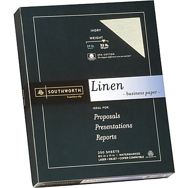 SOUTHWORTH® Linen Business Paper, 8 1/2in. x 11in., 32 lb., Linen Finish, Ivory, 250/Box