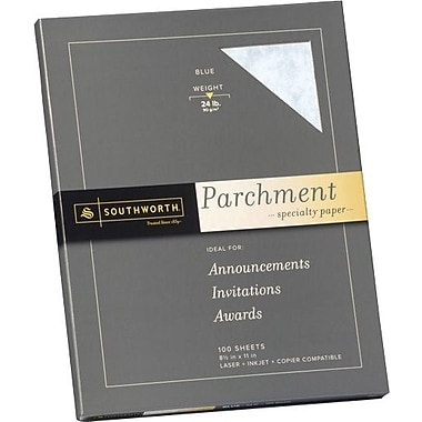 SOUTHWORTH® Parchment Specialty Paper, 8 1/2in. x 11in., 24 lb., Parchment Finish, Blue, 100/Box