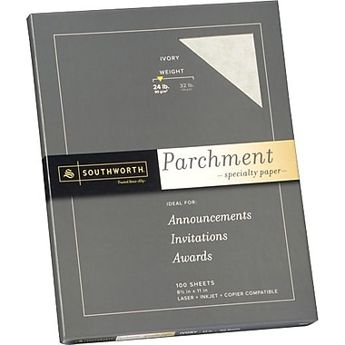 SOUTHWORTH® Parchment Specialty Paper, 8 1/2in. x 11in., 24 lb., Parchment Finish, Ivory, 100/Box