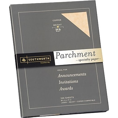 SOUTHWORTH® Parchment Specialty Paper, 8 1/2in. x 11in., 24 lb., Parchment Finish, Copper, 100/Box
