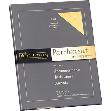 SOUTHWORTH® Parchment Specialty Paper, 8 1/2in. x 11in., 24 lb., Parchment Finish, Gold, 100/Box
