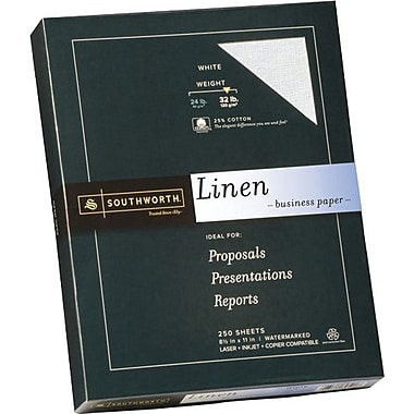 SOUTHWORTH® Linen Business Paper, 8 1/2in. x 11in., 32 lb., Linen Finish, White, 250/Box