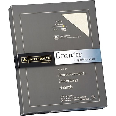 SOUTHWORTH® Granite Specialty Paper, 8 1/2in. x 11in., 32 lb., Granite Finish, Gray, 100/Box
