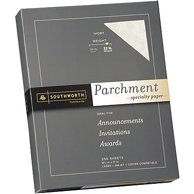 SOUTHWORTH® Parchment Specialty Paper, 8 1/2in. x 11in., 32 lb., Parchment Finish, Ivory, 250/Box
