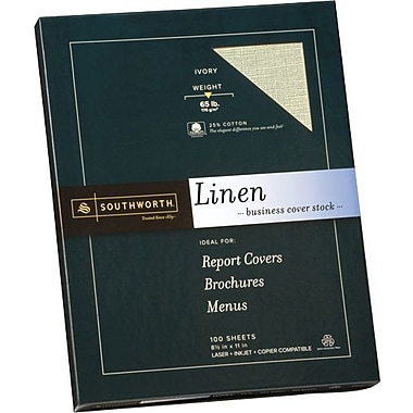 SOUTHWORTH® Linen Business Cover Stock, 8 1/2in. x 11in., 65 lb., Linen Finish, Ivory, 100/Box
