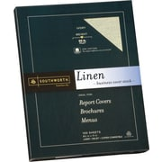 SOUTHWORTH® Linen Business Cover Stock, 8 1/2 x 11, 65 lb., Linen Finish, Ivory, 100/Box