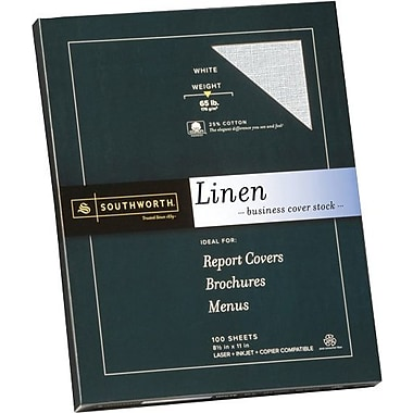 SOUTHWORTH® Linen Business Cover Stock, 8 1/2in. x 11in., 65 lb., Linen Finish, White, 100/Box