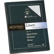 SOUTHWORTH® Linen Business Cover Stock, 8 1/2 x 11, 65 lb., Linen Finish, White, 100/Box
